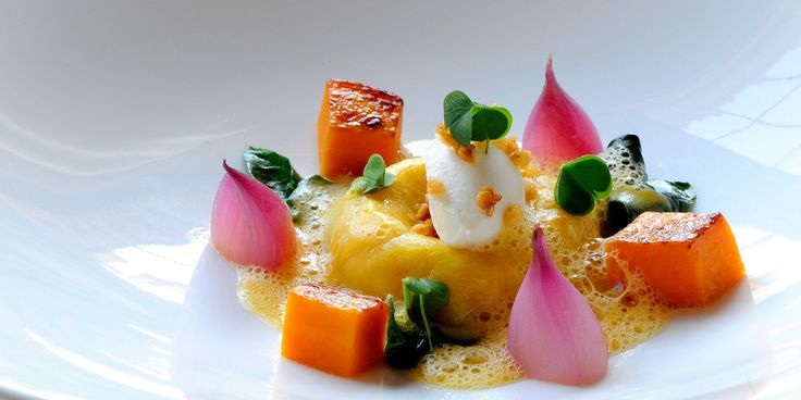 Gary Jones pairs sweet butternut squash with salty Gorgonzola, almonds and pickled shallots in this colourful dinner party starter