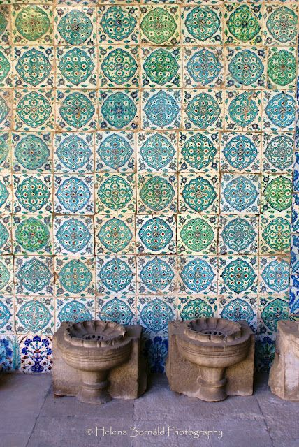 Turkish tile - a wall in the harem at Topkapi Palace, Istanbul Handmade tiles can be colour coordinated and customized re. shape, texture, pattern, etc. by ceramic design studios
