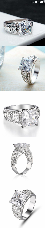 Lajerrio Jewelry Amazing Princess Cut White Sapphire S925 Engagement Ring
