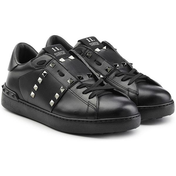 Valentino Leather Untitled Rockstud Sneakers ($535) ❤ liked on Polyvore featuring shoes, sneakers, black, black leather shoes, black sneakers, real leather shoes, valentino trainers and leather shoes