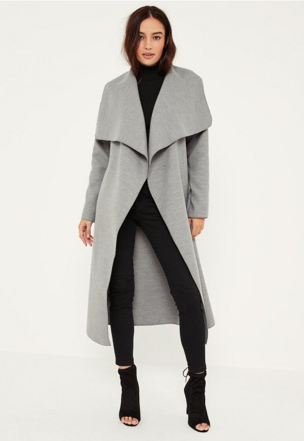 This classic grey oversized waterfall duster coat is the perfect transitional jacket for the new season!
