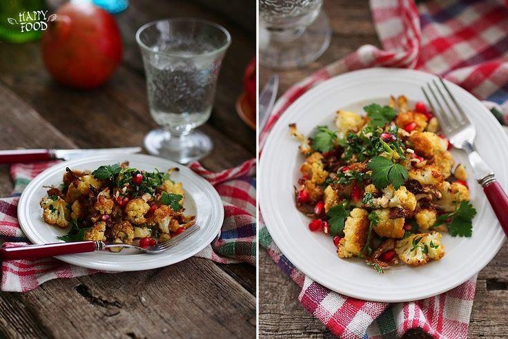 Салат из цветной капусты с гранатом - Roasted cauliflower salad with hazelnuts and pomegranate - HAPPYFOOD