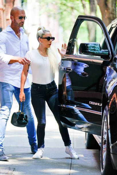 Lady Gaga Wears A White Tshirt And Jeans On July 13 2018 In New York