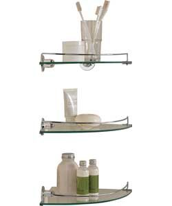 Glass Corner Shelves - Pack of 3.