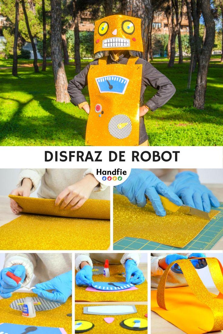 Disfraz de Robot ➜ Corta goma eva de diferentes colores y crea un disfraz de robot para triunfar en Carnaval. #Disfraces #DIY #Carnaval #Robot #Manualidades #Handfie