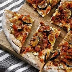 Fig pizza and prosciutto pizza. This salty sweet pie has a secret ingredient - pear jam.
