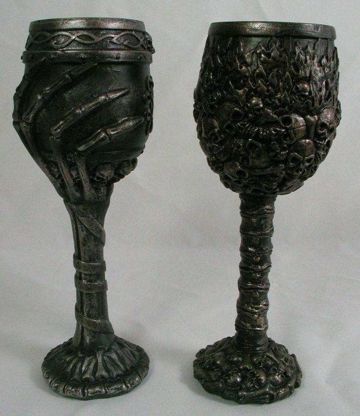 Skull Skeleton Goblet Pair Wine Glass Cup Mug Resin New