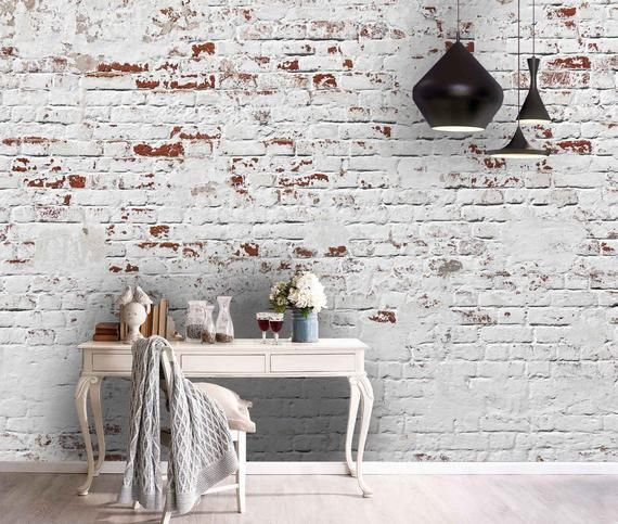 3d Retro White Lime Brick Wallpaper Mural Peel And Stick Etsy In 2021 Brick Wallpaper Mural White Brick Walls Brick Wall Paneling