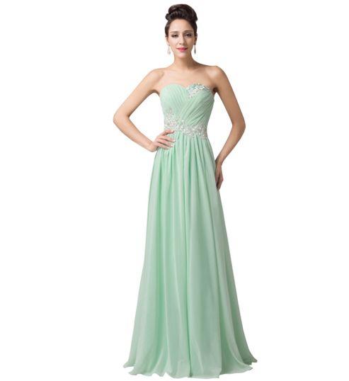 Mint Pastel Green Long Strapless Women's Formal Dress - Bridesmaids - Prom…