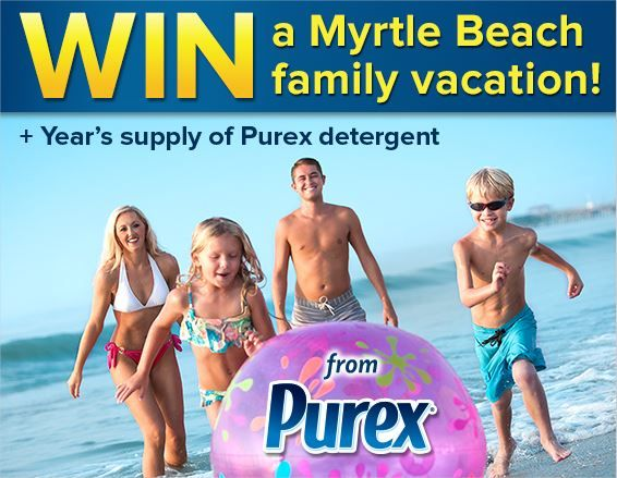 myrtle beach vacation sweepstakes--win a trip to Myrtle Beach including airfare and hotel accommodations and a year supply of Purex detergent!