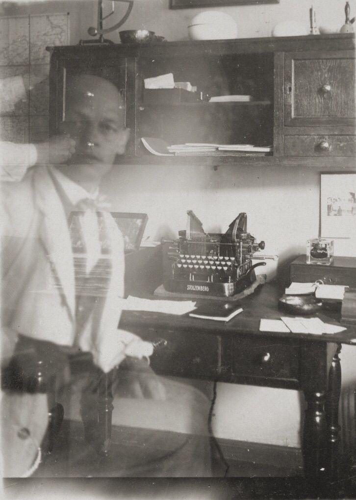 Self-Portrait at Typewriter, Prellerstrasse Studio, 1925, Oskar Schlemmer. The J. Paul Getty Museum