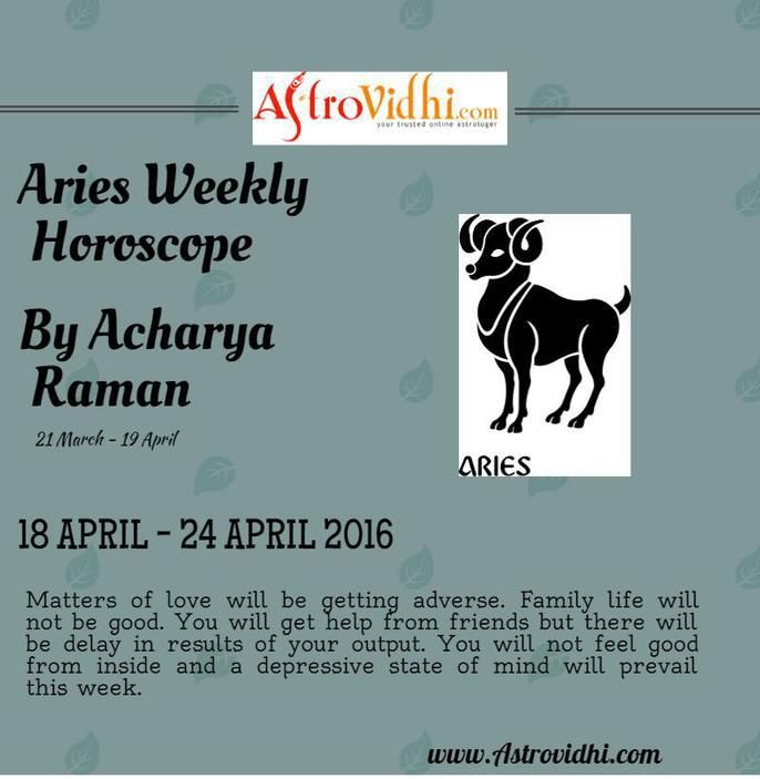Check your Aries Weekly Horoscope (18/04/2016-24/04/2016).Read your weekly horoscope online Hindi/English at AstroVidhi.com.