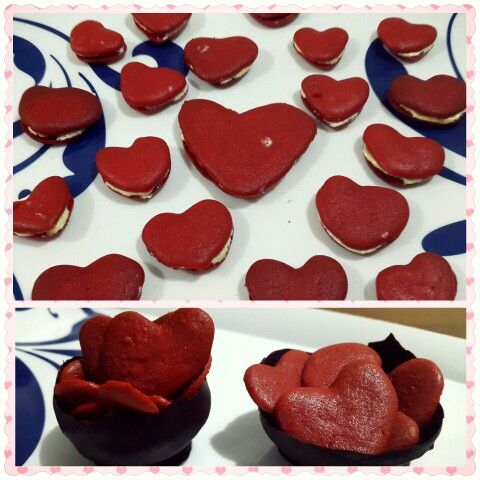 Red velvet cookies cream and red velvet with chocolate bowl
