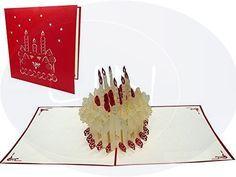 Aufklappbare POP UP Geburtstagskarte einer Geurtstagstorte. Mehr entdecken auf: www.lin-popupkarten.de