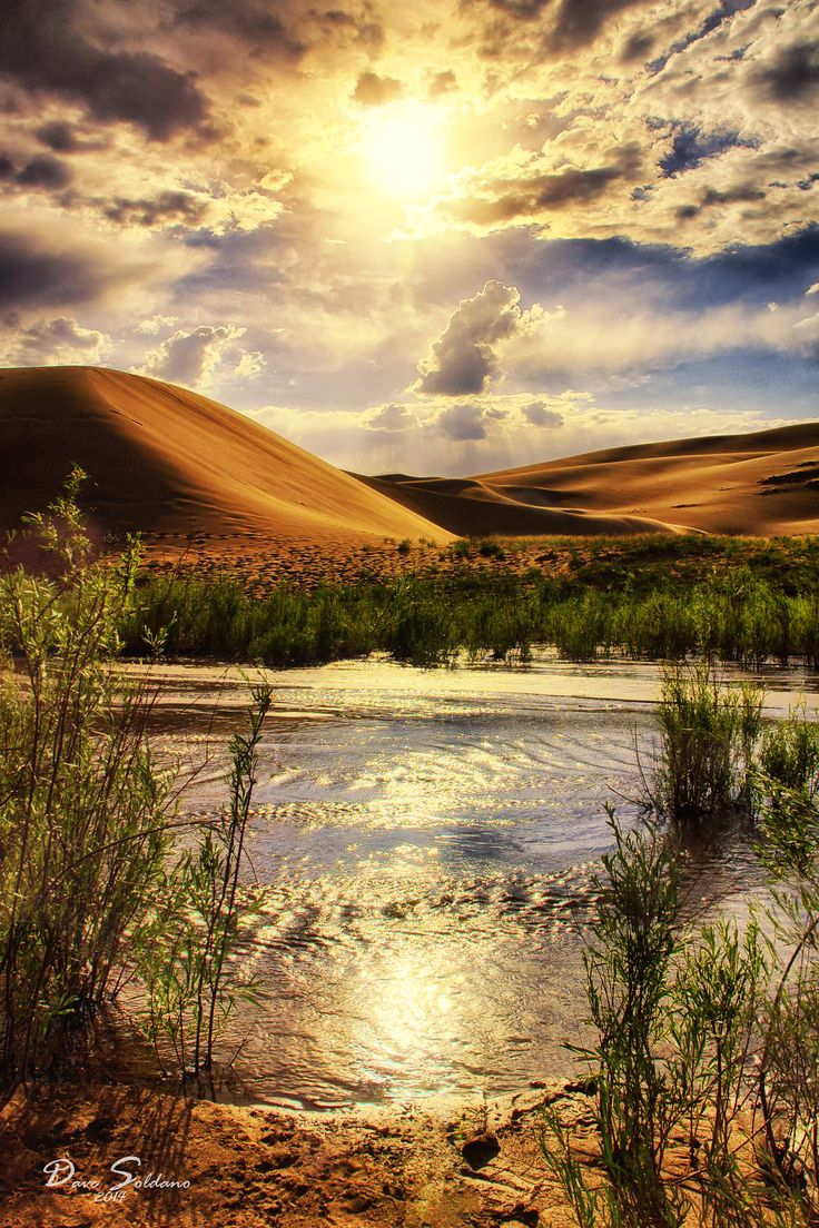 Sunset at the Great Sand Dunes National Park. Sunlight creates a path across the stream leading to the dunes. Colorado