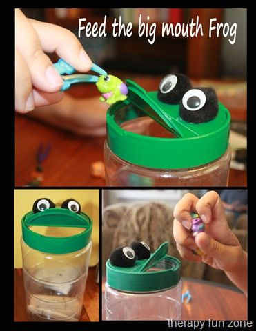 """Feed the frog! Using tweezers or tongs will help your toddler or preschooler develop the fine motor skills needed for using scissors and writing! What a fun activity that uses materials you may already have at home! """"Flies"""" can be made from pom poms or large beads or whatever you wish!"""