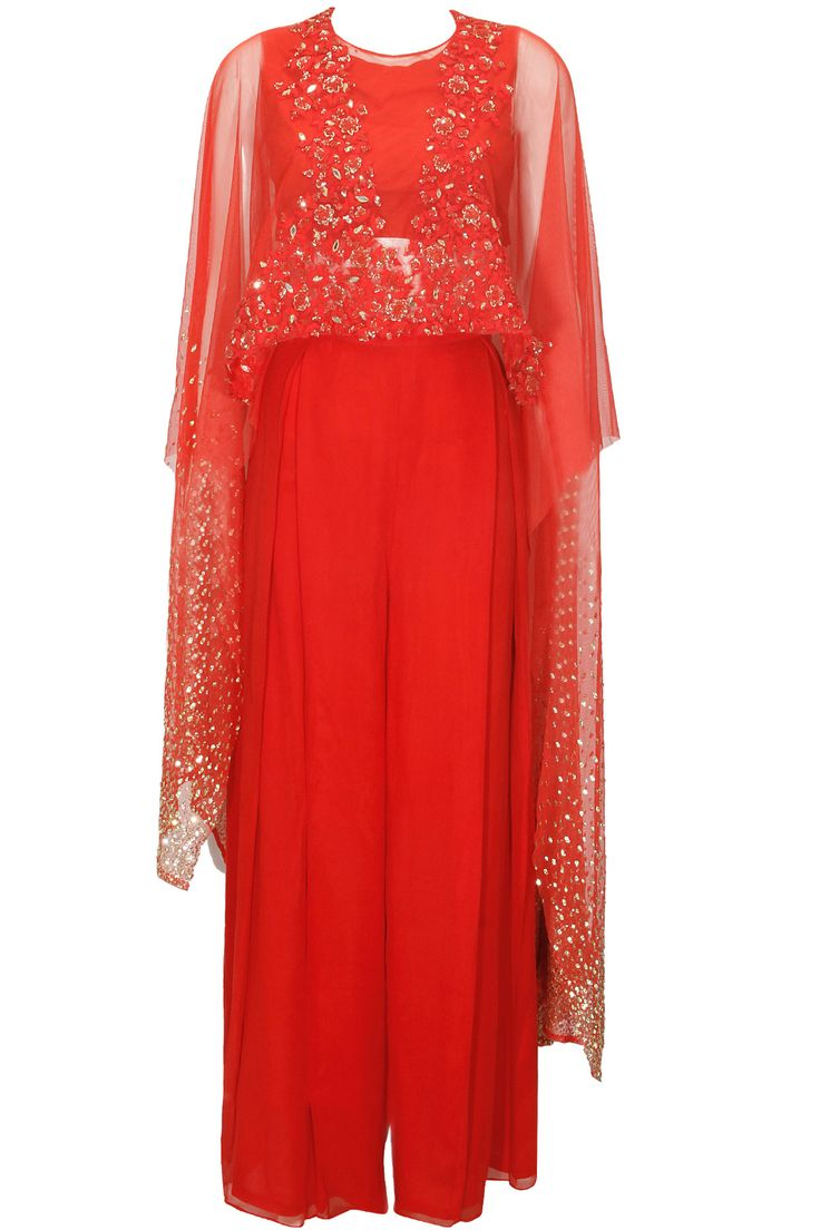 Red floral embroidered cape palazzos set available only at Pernia's Pop-Up Shop.