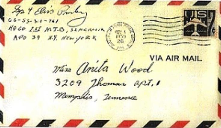 Envelope for letter Elvis wrote to Anita while he was stationed in Germany.