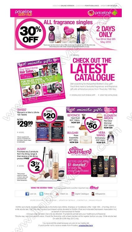 Company: Priceline (Australia)   Subject: Hi Jenny, Save 30% on ALL fragrance singles - 2 Days Only         INBOXVISION, a global email gallery/database of 1.5 million B2C and B2B promotional email/newsletter templates, provides email design ideas and email marketing intelligence. www.inboxvision.c... #EmailMarketing  #DigitalMarketing  #EmailDesign  #EmailTemplate  #InboxVision  #SocialMedia  #EmailNewsletters