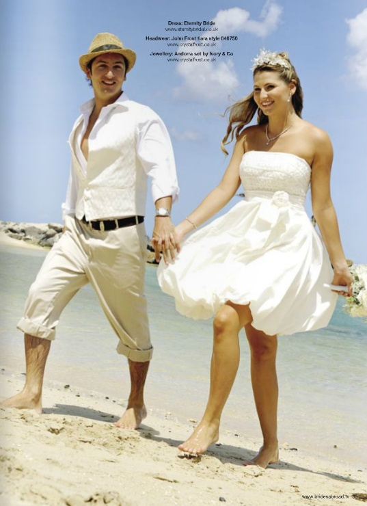 Short Wedding Dress And Casual Groom Outfit