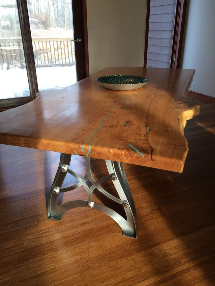 Captivating Handcrafted Vintage Industrial Steampunk Metal Legs, Live Edge American Elm  Wood Slab Table Top.