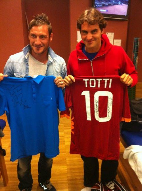 Roger Federer and Francesco Totti
