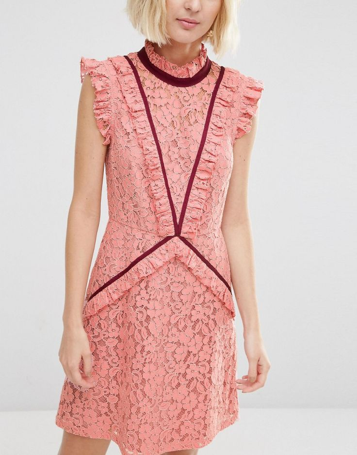 Image 3 of ASOS Lace Shift Dress with Ruffle Detail and Contrast Trim
