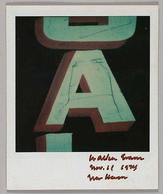 """Walker EVANS: Detail of Sign Lettering: """"A"""", Nov. 1974"""