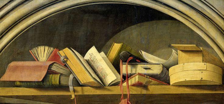 Stilleven met boeken in een nis, Barthélémy d' Eyck, 1442 - 1445