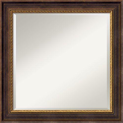 """Veneto Distressed Black Wall Mirror - 24"""" Square"""