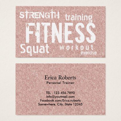 Fitness Personal Trainer Rose Gold Glitter Business Card - rose style gifts diy customize special roses flowers