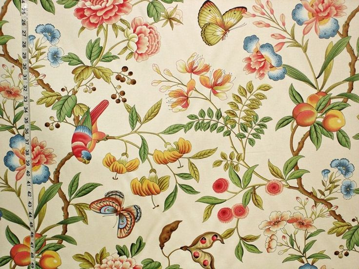 """Parrot fabric tropical peach Oriental from Brick House Fabric: Novelty Fabric 56"""" cotton"""