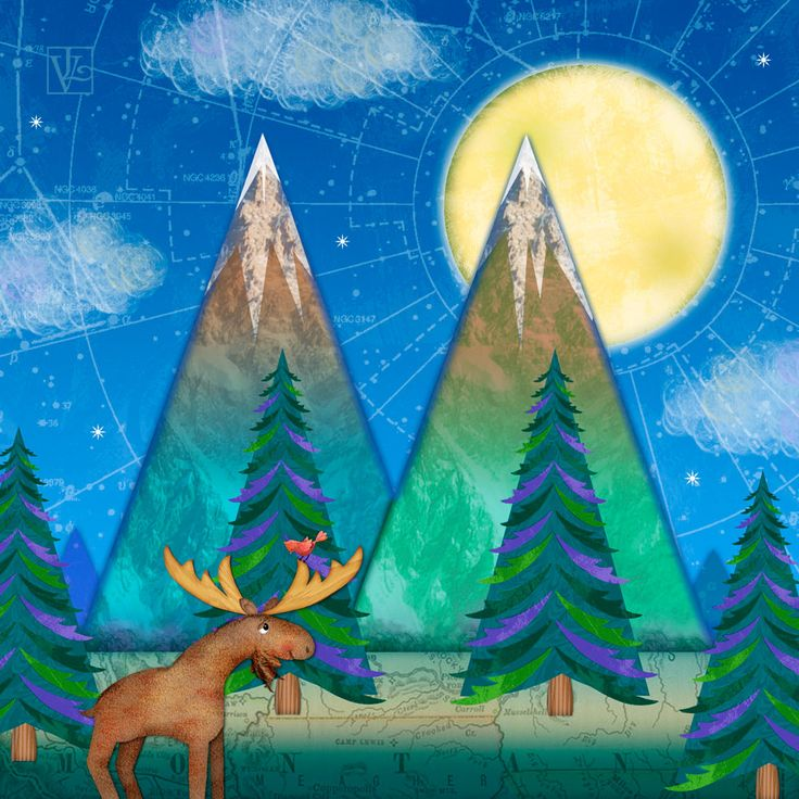 fir letter format%0A M is for Mountains and Moon   Digital illustration based on concept  sketches  M is