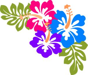 Example of corner design made up of hibiscus flowers and leaf templates. Transparent background.
