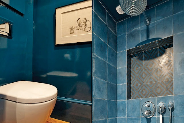 The blue lacquer powder room has a shower that features Popham Design tiles that were made by hand in Marrakesh.: Hands, Dreams Bathroom, Apartment Rue, Shower, House Crushes, Blue Tile Bathroom, Design, Powder Rooms, Rue De Seine