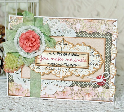 Lace Doily card.  Love the layers and extras