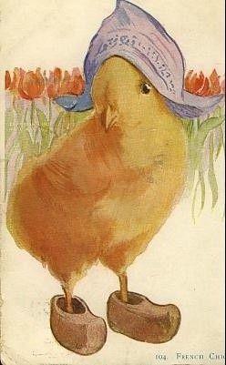 Vintage Easter Postcard.. Dutch Chick.