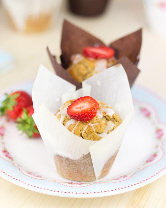 Muffins de plátano y fresa