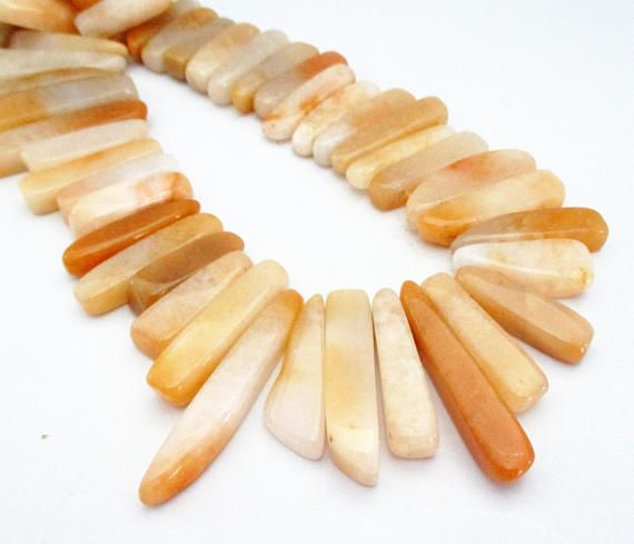 Natural Yellow Jade Beads  Spike Point Beads  Dagger Stone