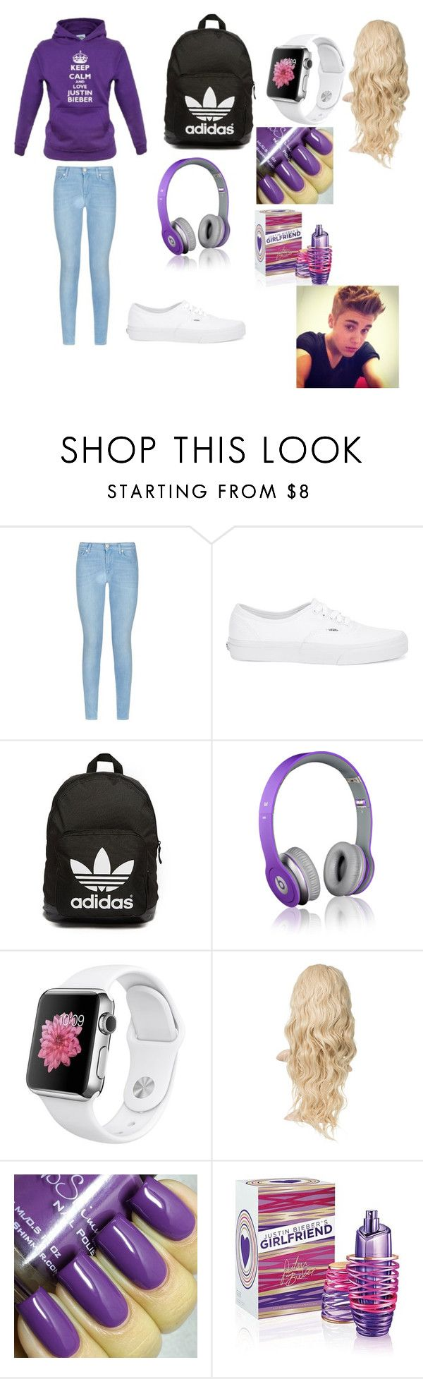 """""""justin bieber concert outfit"""" by meriahc ❤ liked on Polyvore featuring Justin Bieber, 7 For All Mankind, Vans, adidas Originals, Beats by Dr. Dre, women's clothing, women's fashion, women, female and woman"""