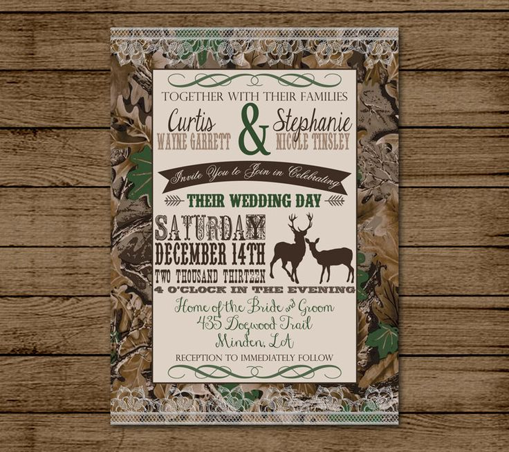 12 best Camo Wedding Invites images on Pinterest Wedding stuff