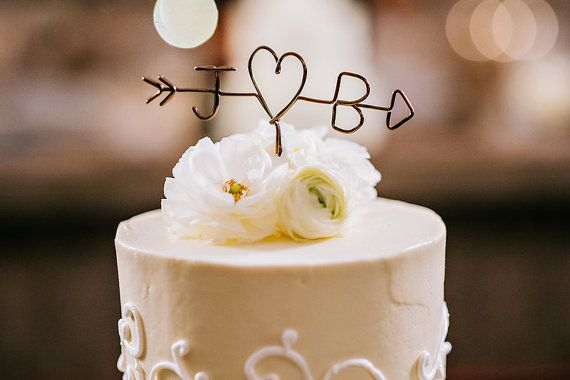 RUSH ORDER Arrow Initials Wedding Cake Topper by LeRusticChic
