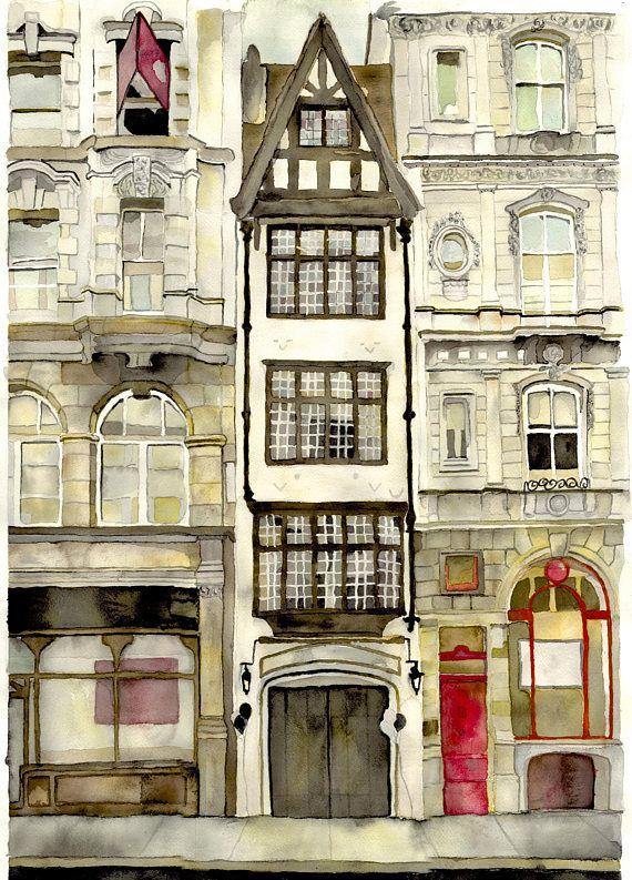 Cobblestone Design Co. Original Watercolor Painting, Ye Olde Cock Tavern,
