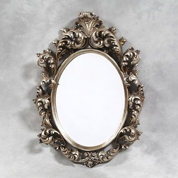 Large silver oval carved rococo baroque wall mirror for Baroque oval wall mirror