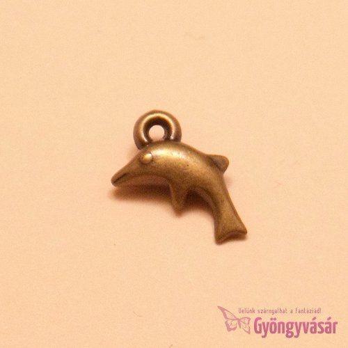 Antik aranyszínű delfin - akril fityegő