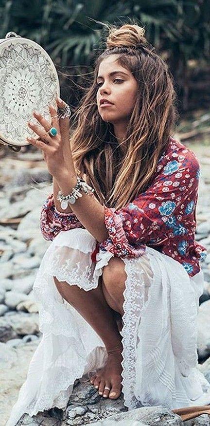 Wine Folk Print Blouse + White Embroidered Skirt                                                                             Source