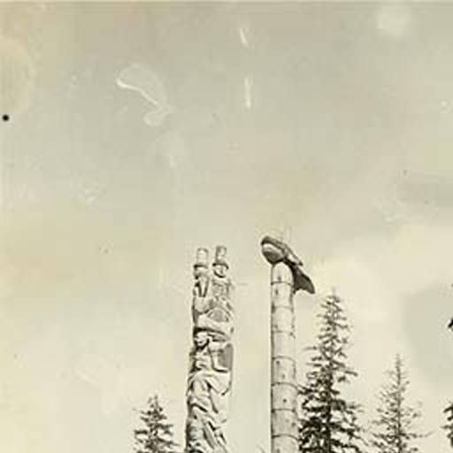 Haida totem poles in front of houses, Howkan village, Long Island, Alaska, 1906. :: American Indians of the Pacific Northwest -- Image Portion