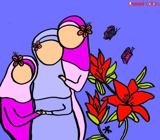 maman et ses deux filles musulmanes