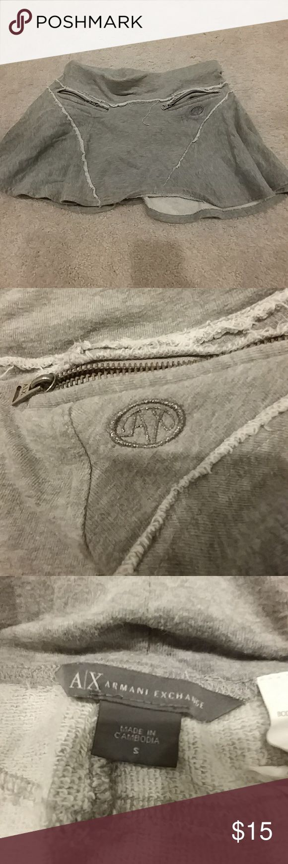Armani exchange skirt Grey cotton Armani exchange skirt with zipper pocket detailing Armani Exchange Skirts Mini