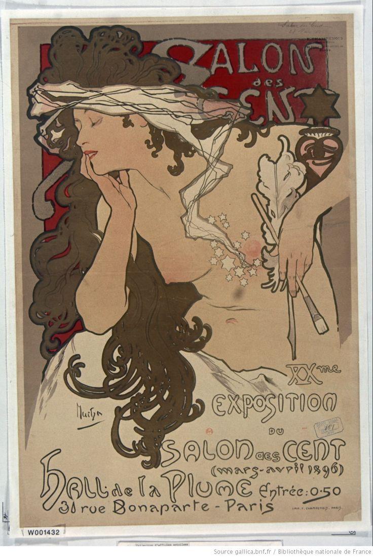 Salon des Cent. XXme exposition du Salon des Cent (mars-avril 1896), hall de la Plume [. ..] : [affiche] / Mucha